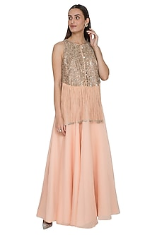 Pink Hand Embellished Top With Flared Skirt by Rohit Gandhi & Rahul Khanna