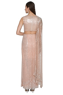 Frosty Pink Embroidered Gown Saree by Rohit Gandhi & Rahul Khanna