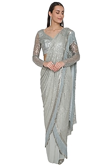 Spruce Green Embroidered Draped Saree Set by Rohit Gandhi & Rahul Khanna