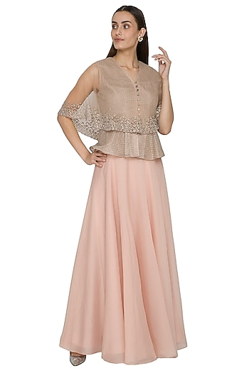 Frosty Pink Embroidered Peplum Top With Flared Skirt by Rohit Gandhi & Rahul Khanna
