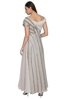 Orbit Silver Gown With Embellished Cape by Rohit Gandhi & Rahul Khanna
