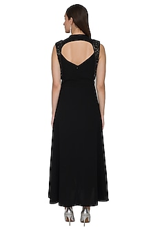 Black Sleeveless Embellished Gown With Thigh-High Slit by Rohit Gandhi & Rahul Khanna