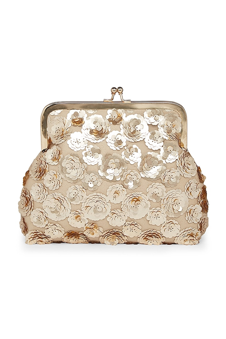 Beige & Gold Embroidered Pouch Clutch by Richa Gupta