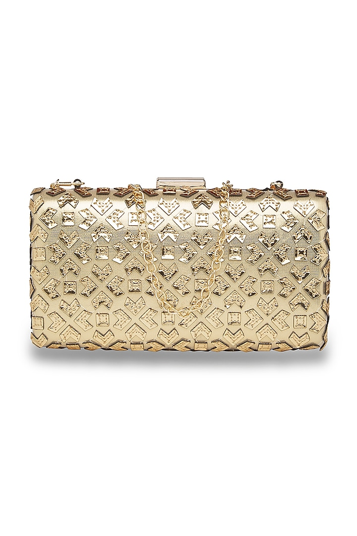Beige & Gold Embroidered Sling Clutch by Richa Gupta