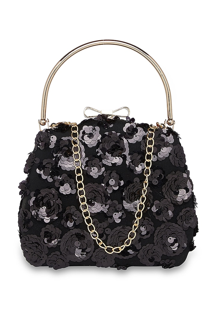 Black Embroidered Purse Style Clutch by Richa Gupta
