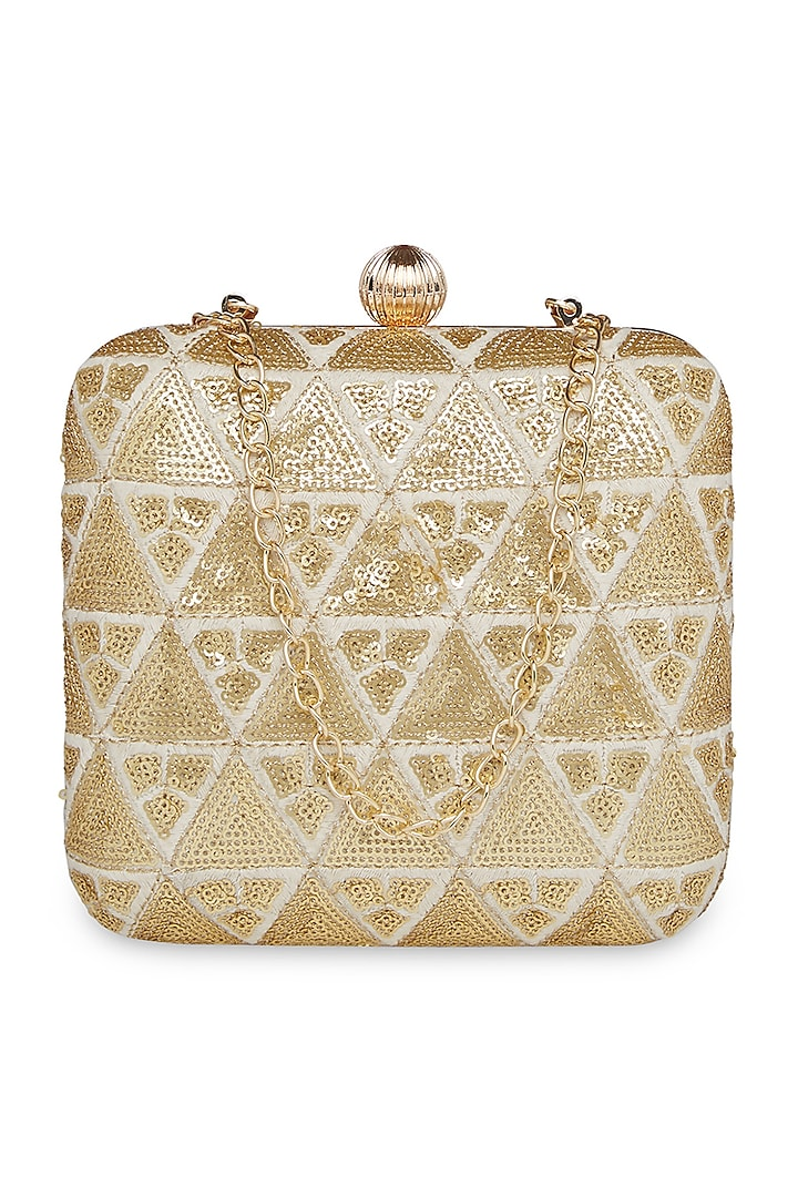 Off White & Gold Embroidered Square Clutch by Richa Gupta