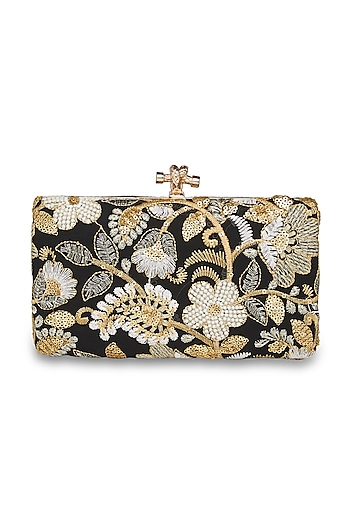 Black Floral Embroidered Clutch by Richa Gupta