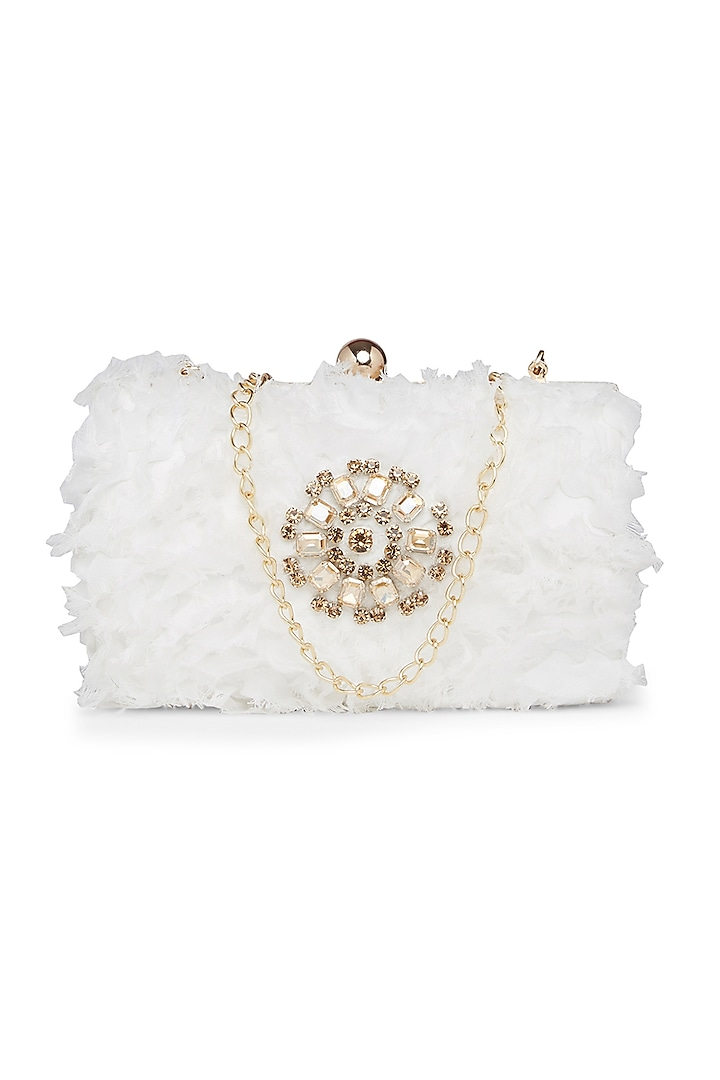 White Embroidered Fluffy Clutch by Richa Gupta