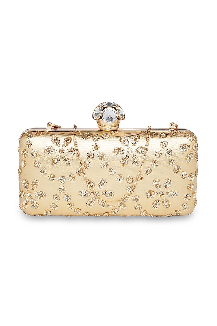 Gold Crystal Embroidered Clutch by Richa Gupta