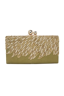 Olive Green Handcrafted Embroidered Clutch by Richa Gupta