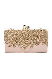 Blush Pink Handcrafted Embroidered Clutch by Richa Gupta