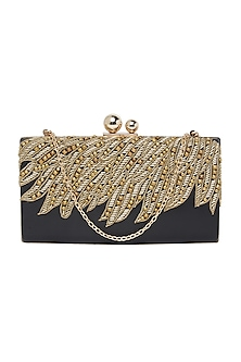 Black Handcrafted Embroidered Clutch by Richa Gupta
