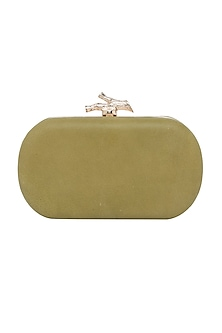 Olive Green Handcrafted Leather Clutch by Richa Gupta