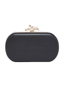 Black Handcrafted Leather Clutch by Richa Gupta