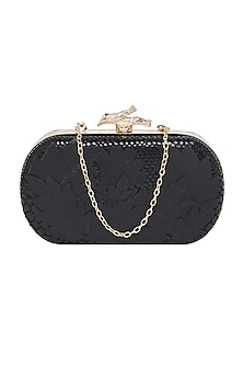 Black Embroidered Leather Clutch by Richa Gupta