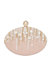 Blush Pink Pearl Embroidered Clutch by Richa Gupta