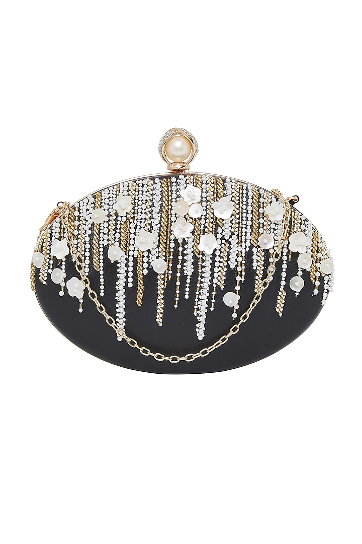 Black Pearl Embroidered Clutch by Richa Gupta