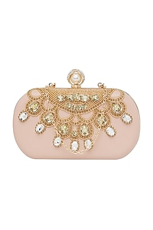 Blush Pink Embroidered Clutch With Pearl Knob by Richa Gupta