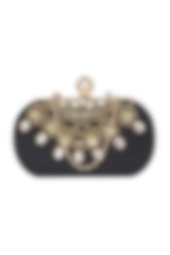 Black Embroidered Clutch With Pearl Knob by Richa Gupta