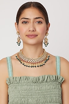 Gold Plated Green Bead Necklace Set by Rhmmya