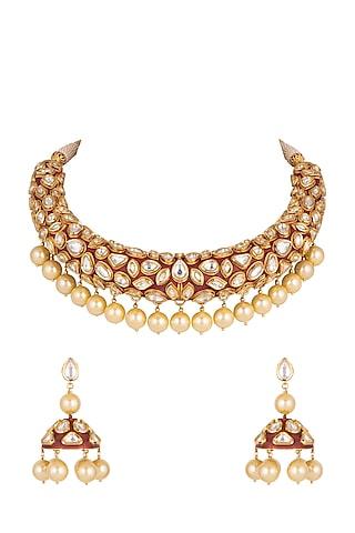 Gold Plated Necklace Set by Rhmmya
