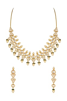 Gold Plated Pearl & Bead Necklace Set by Rhmmya-JEWELLERY ON DISCOUNT
