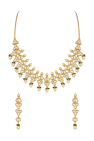 Gold Plated Pearl & Bead Necklace Set by Rhmmya
