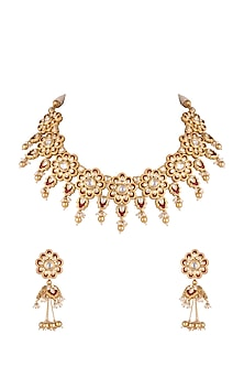 Gold Plated Kundan Necklace Set by Rhmmya-JEWELLERY ON DISCOUNT