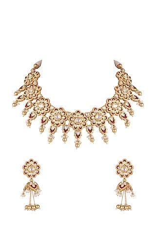 Gold Plated Kundan Necklace Set by Rhmmya