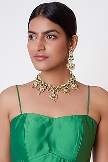 Gold Plated Beads & Pearl Necklace Set by Rhmmya