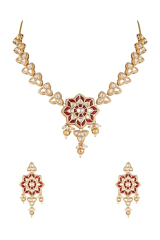 Gold Plated Kundan Hibiscus Necklace Set by Rhmmya