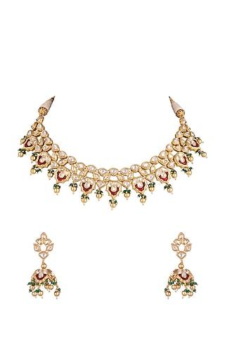 Gold Plated Faux Kundan Necklace Set by Rhmmya