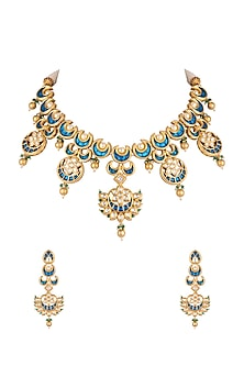 Gold Plated Pearl Necklace Set by Rhmmya-JEWELLERY ON DISCOUNT