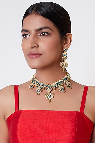 Gold Plated Pearl Necklace Set by Rhmmya