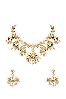 Gold Plated Chand Motif Necklace Set by Rhmmya