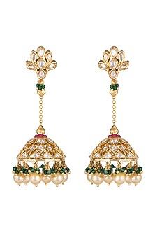Gold Plated Kundan Earrings by Rhmmya