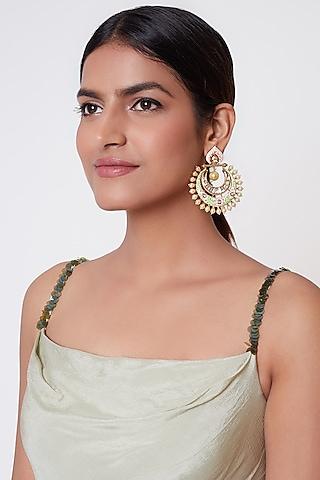 Gold Plated Faux Kundan Earrings by Rhmmya