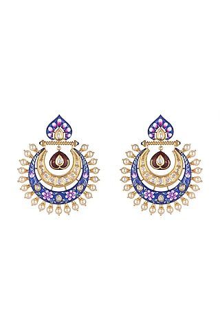 Gold Plated Chandbali Earrings by Rhmmya