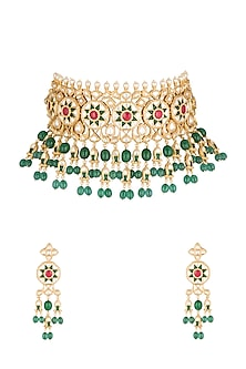 Gold Plated Cubic Zirconia Necklace Set by Rhmmya