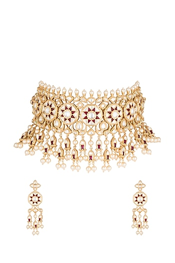 Gold Plated Cubic Zirconia & Kundan Necklace Set by Rhmmya