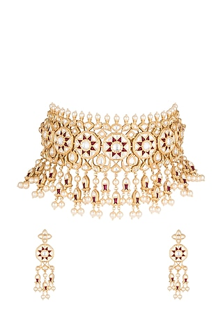Gold Plated Cubic Zirconia & Kundan Necklace Set by Rhmmya