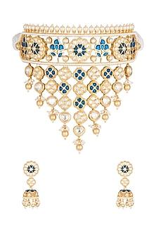 Gold Plated Beads & Kundan Necklace Set by Rhmmya-EDITOR'S PICK
