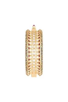 Gold Plated Cubic Zirconia & Kundan Kada Bracelet by Rhmmya