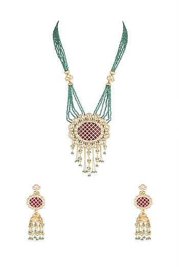 Gold Plated Cubic Zirconia Mala Necklace Set by Rhmmya