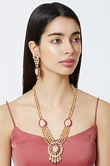Gold Plated Cubic Zirconia Chain Necklace Set by Rhmmya