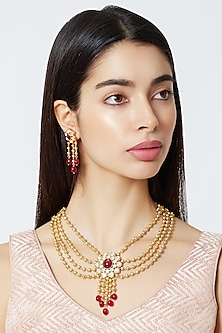 Gold Plated Beads & Cubic Zirconia Necklace Set by Rhmmya
