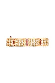 Gold Plated Red Stone Kada Bracelet by Rhmmya