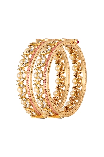 Gold Plated Pink Enameled Bangles by Rhmmya