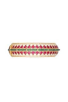 Gold Plated Red & Green Stone Kada Bracelet by Rhmmya