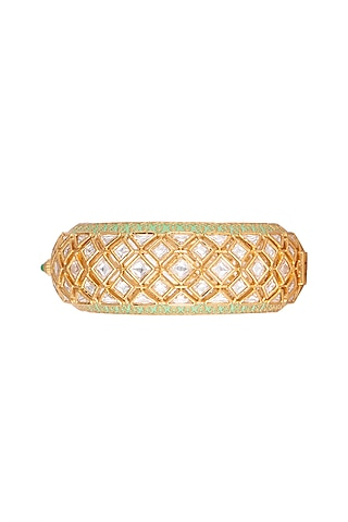 Gold Plated Enamel Kada Bracelet by Rhmmya